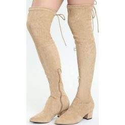 Beżowe Kozaki Backstage Queen. Brązowe buty zimowe damskie marki Kazar, ze skóry, przed kolano, na wysokim obcasie. Za 129,99 zł.