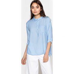 Bluzki damskie: Gładka bluzka z kołnierzykiem polo z długim rękawem