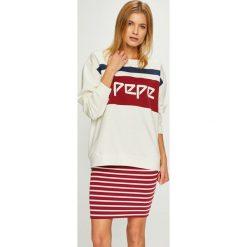 Pepe Jeans - Bluza Frankie. Szare bluzy z nadrukiem damskie Pepe Jeans, l, z bawełny, bez kaptura. Za 319,90 zł.