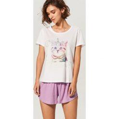 Piżama z szortami - Biały. Czarne piżamy damskie marki Reserved, l. Za 59,99 zł.