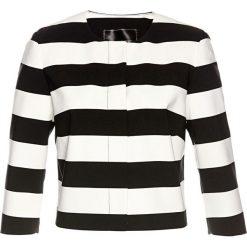 Krótki żakiet bonprix czarno-biel wełny. Brązowe marynarki i żakiety damskie marki bonprix. Za 99,99 zł.