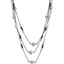 Naszyjniki damskie: Srebrny naszyjnik z perłami Tahiti – (D)50 cm