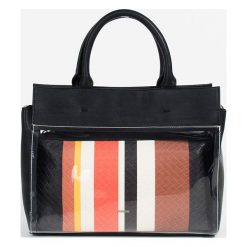 Parfois - Torebka. Szare shopper bag damskie Parfois, w paski, z materiału, do ręki, średnie. Za 139,90 zł.