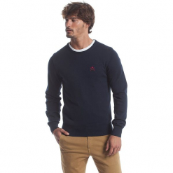 Sweter w kolorze granatowym. Niebieskie swetry klasyczne męskie marki GALVANNI, l, z okrągłym kołnierzem. W wyprzedaży za 173,95 zł.