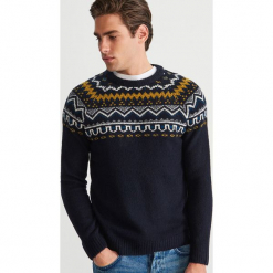 Wzorzysty sweter - Granatowy. Niebieskie swetry klasyczne męskie marki bonprix, m, melanż. Za 139,99 zł.