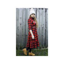 Sukienka midi w kratę czerwoną. Czerwone sukienki na komunię Missspark, m, z aplikacjami, z bawełny, midi. Za 599,00 zł.