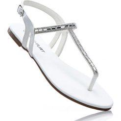 Sandały japonki bonprix srebrny metaliczny. Szare klapki damskie marki Public Desire, z materiału, na płaskiej podeszwie. Za 49,99 zł.
