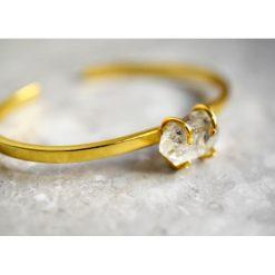 Bransoletki damskie: Pozłacana bransoletka Diament z Herkimer