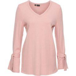 Swetry klasyczne damskie: Sweter dzianinowy z rozkloszowanymi rękawami bonprix stary jasnoróżowy