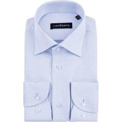 Koszula Niebieska w Kropki Macadamia. Niebieskie koszule męskie na spinki marki LANCERTO, m, w kropki, z bawełny. W wyprzedaży za 199,90 zł.