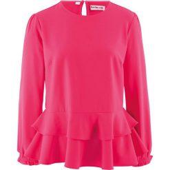 Bluzka z baskinką, z kolekcji Maite Kelly bonprix różowy hibiskus. Niebieskie bluzki z odkrytymi ramionami marki bonprix, z nadrukiem. Za 89,99 zł.