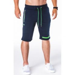 KRÓTKIE SPODENKI MĘSKIE DRESOWE W051 - GRANATOWE. Zielone spodenki dresowe męskie marki Ombre Clothing, na zimę, m, z kapturem. Za 27,30 zł.