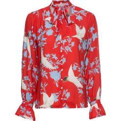 Bluzki damskie: Bluzka z kokardką bonprix czerwony z nadrukiem