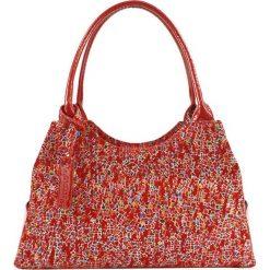 Torebki klasyczne damskie: Skórzana torebka w kolorze czerwonym ze wzorem – (S)35 x (W)17 x (G)13 cm