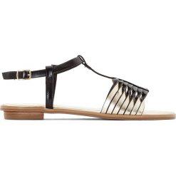 Rzymianki damskie: Sandały z wieloma paskami w kolorze złotym