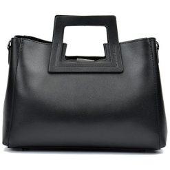 Torebki klasyczne damskie: Skórzana torebka w kolorze czarnym – (S)36 x (W)27 x (G)12 cm