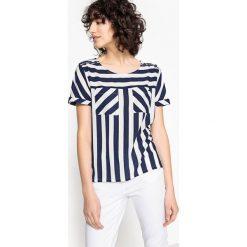 Bluzki asymetryczne: Bluzka z nadrukiem, dekolt w serek i krótki rękaw