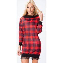 Sukienka z koroną w kratę czerwień 6470. Czerwone sukienki Fasardi, l. Za 49,00 zł.