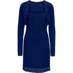 Sukienka dzianinowa z falbaną i połyskiem bonprix kobaltowo-srebrny. Niebieskie sukienki balowe marki bonprix, z dzianiny. Za 109,99 zł.