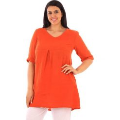 Tuniki damskie: Lniana tunika w kolorze pomarańczowym