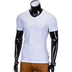 T-shirty męskie: T-SHIRT MĘSKI BEZ NADRUKU S678 – BIAŁY