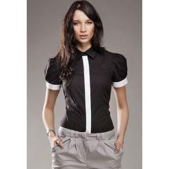 Czarna Wizytowa Koszula z Krótkim Rękawem. Czarne koszule damskie Molly.pl, l, z bawełny, biznesowe, z krótkim rękawem. Za 99,90 zł.