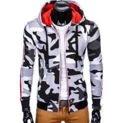 BLUZA MĘSKA ROZPINANA Z KAPTUREM B797 - BIAŁA/CZARNA. Białe bluzy męskie rozpinane Ombre Clothing, m, z bawełny, z kapturem. Za 49,00 zł.