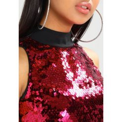 Topy damskie: Jaded London HIGH NECK CROP WITH EXPOSED BACK ZIP IN HEART SEQUIN Top red