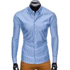 Koszule męskie: KOSZULA MĘSKA ELEGANCKA Z DŁUGIM RĘKAWEM K428 – BŁĘKITNA