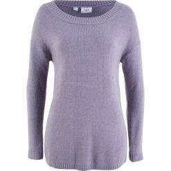 Swetry klasyczne damskie: Sweter z dekoltem w łódkę bonprix dymny fioletowy