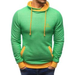 Bluzy męskie: Bluza męska z kominem zielona (bx0591)