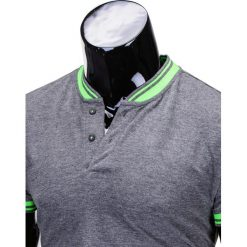 T-SHIRT MĘSKI BEZ NADRUKU S661 - GRAFITOWY. Szare t-shirty męskie z nadrukiem Ombre Clothing, m, z bawełny, z kontrastowym kołnierzykiem. Za 29,00 zł.