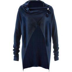 Lekki sweter rozpinany w ludowym stylu bonprix ciemnoniebieski. Niebieskie kardigany damskie marki bonprix, z materiału. Za 49,99 zł.