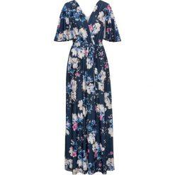 Sukienki: Długa sukienka z dżerseju bonprix ciemnoniebieski w kwiaty