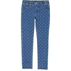 Jeansy slim z nadrukiem serca 3-12 lat. Szare jeansy dziewczęce La Redoute Collections, z nadrukiem, z bawełny, z standardowym stanem. Za 88,16 zł.
