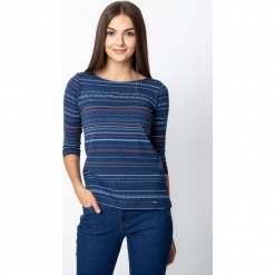 Granatowa bluzka w etniczny wzór QUIOSQUE. Niebieskie bluzki longsleeves marki QUIOSQUE, z nadrukiem, z dzianiny, klasyczne, z dekoltem w łódkę. Za 79,99 zł.