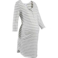 Koszula nocna do karmienia bonprix jasnoszary melanż - biel wełny w paski. Szare bielizna ciążowa bonprix, melanż, z bawełny, moda ciążowa. Za 59,99 zł.