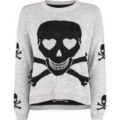 Outer Vision Jenny Heart Skull Sweter damski kremowy. Białe swetry klasyczne damskie Outer Vision, xl, z dzianiny, z okrągłym kołnierzem. Za 199,90 zł.