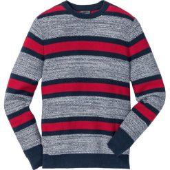 Sweter z okrągłym dekoltem w paski Regular Fit bonprix ciemnoczerwono-ciemnoniebiesko-biały w paski. Czerwone swetry klasyczne męskie marki bonprix, l, w paski, z bawełny, z okrągłym kołnierzem. Za 74,99 zł.