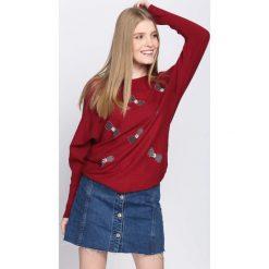 Bordowy Sweter I Just Starting. Czerwone swetry klasyczne damskie Born2be, m, z okrągłym kołnierzem. Za 69,99 zł.