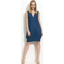 Granatowa Sukienka Mini Bombka z Dekoltem w Szpic. Niebieskie sukienki mini marki Molly.pl, na co dzień, s, z elastanu, bombki. Za 87,90 zł.