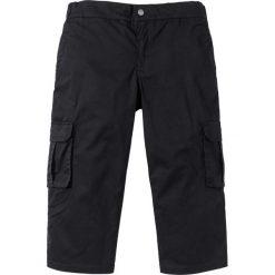Spodnie bojówki 3/4 ze stretchem i ściągaczem w talii Regular Fit bonprix czarny. Czarne bojówki męskie marki bonprix. Za 99,99 zł.