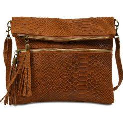 """Torebki klasyczne damskie: Skórzana torebka """"Charlene"""" w kolorze brązowym – 25 x 21,5 cm"""