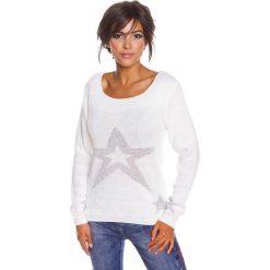 """Sweter """"Jostine"""" w kolorze białym. Swetry klasyczne damskie 100% Maille, s, ze splotem, z okrągłym kołnierzem. W wyprzedaży za 108,95 zł."""