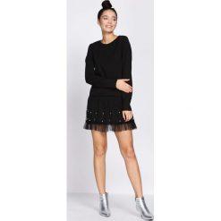 Czarna Sukienka Fine Detail. Czarne sukienki hiszpanki Born2be, s, z dżerseju, z falbankami, mini. Za 64,99 zł.