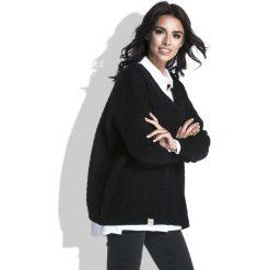 Swetry klasyczne damskie: Czarny Luźny Sweter z Dekoltem V