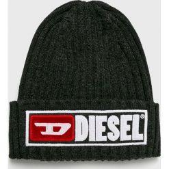 Diesel - Czapka. Czarne czapki zimowe męskie Diesel, na zimę, z bawełny. Za 239,90 zł.