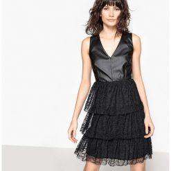 Sukienki: Sukienka z dwóch materiałów, sztuczna skóra i koronkowe falbanki