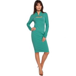 ERIN Sukienka ołówkowa z bolerkiem - zielona. Zielone sukienki balowe marki BE, l, z dzianiny, z golfem, z długim rękawem, mini, ołówkowe. Za 136,99 zł.