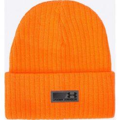Under Armour - Czapka. Pomarańczowe czapki zimowe męskie Under Armour, na zimę, z dzianiny. W wyprzedaży za 69,90 zł.